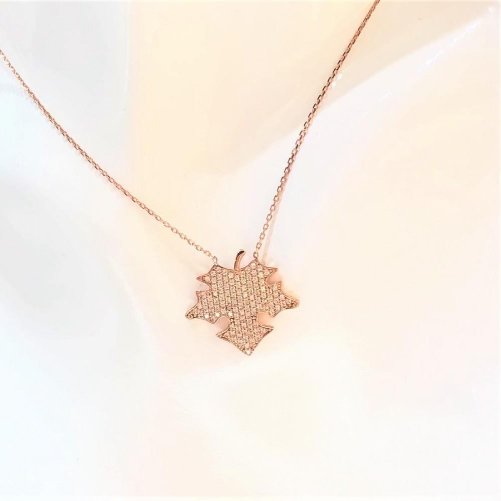 Çınar Yaprağı Tasarım Gümüş Kolye MY101664 14395 Thumb