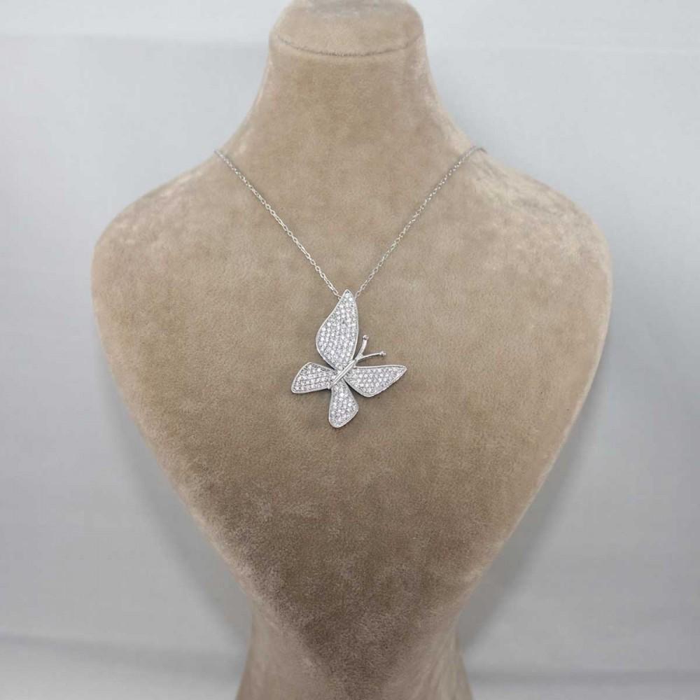 Çoktaşlı Gümüş Kelebek Kolye MYK00101 8683 Thumb