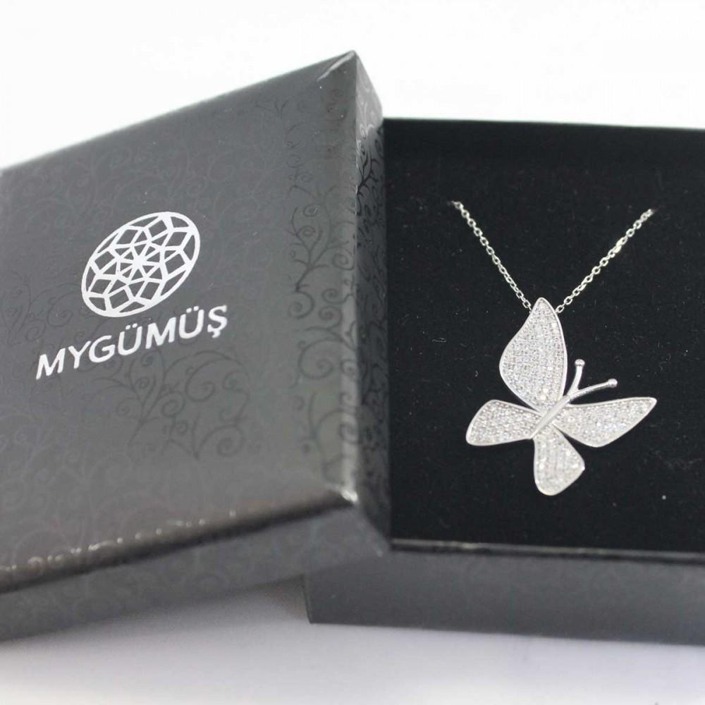 Çoktaşlı Gümüş Kelebek Kolye MYK00101 8685 Thumb