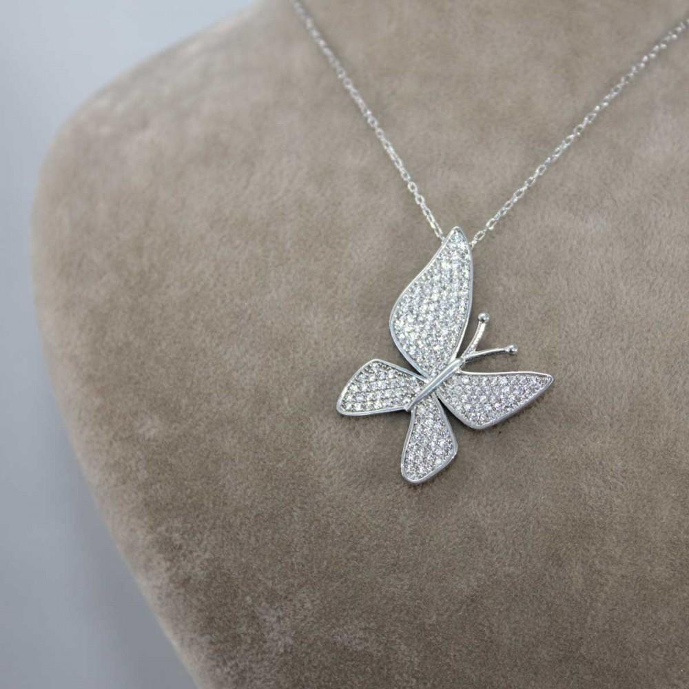 Çoktaşlı Gümüş Kelebek Kolye MYK00101 8684 Thumb