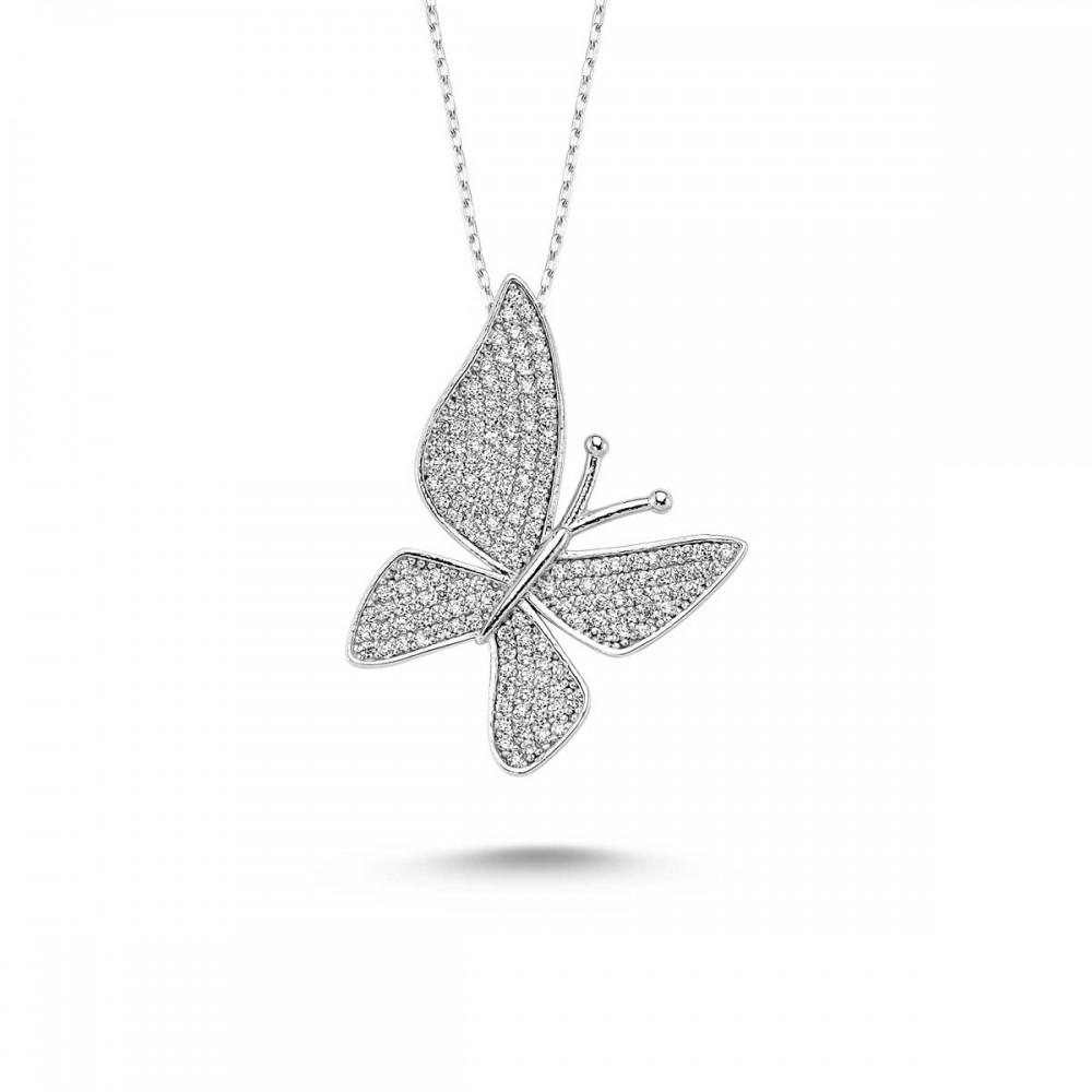Çoktaşlı Gümüş Kelebek Kolye MYK00101 9391 Thumb
