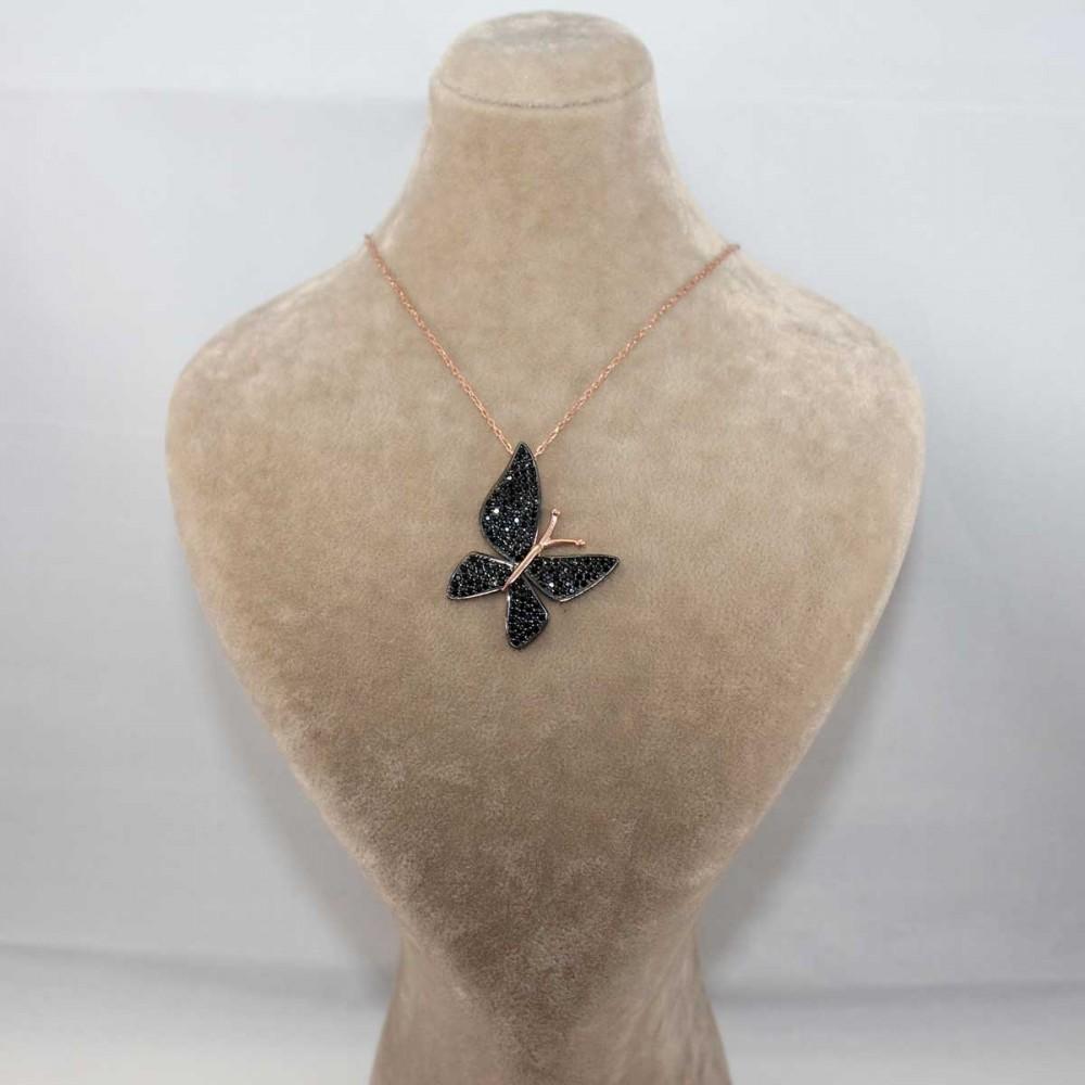 Çoktaşlı Safir Rose Gümüş Kelebek Kolye MYK00103 8686 Thumb