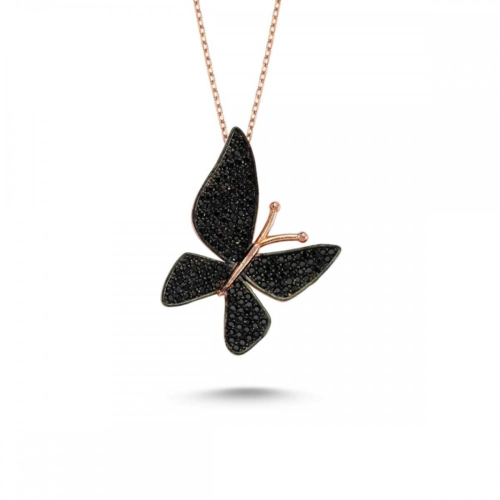Çoktaşlı Safir Rose Gümüş Kelebek Kolye MYK00103 9389 Thumb