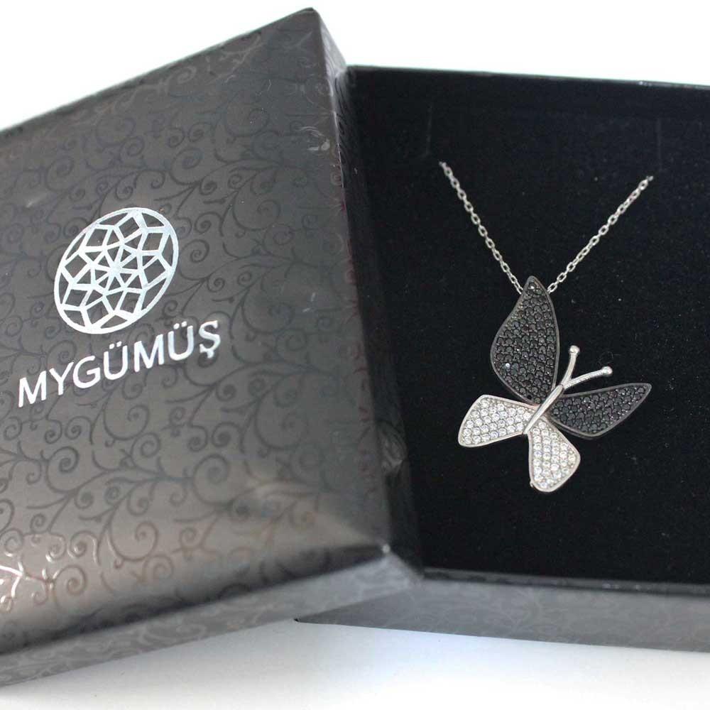 Çoktaşlı Safir Zirkon Gümüş Kelebek Kolye MYK00102 7243 Thumb