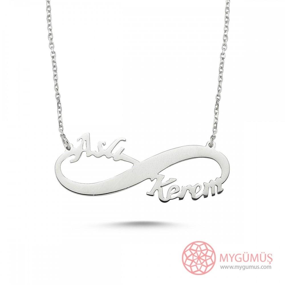 El Emeği Sosuzluk İki İsimli Gümüş Kolye MYK001017 9410 Thumb