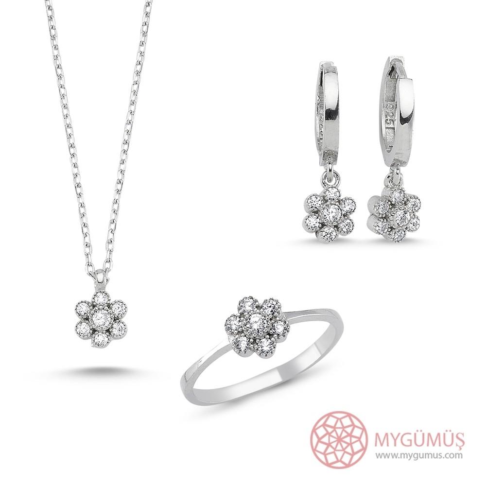 Elmas Montür Çiçek Gümüş Kolye Küpe Yüzük 3'lü Set MY101107 7838 Thumb