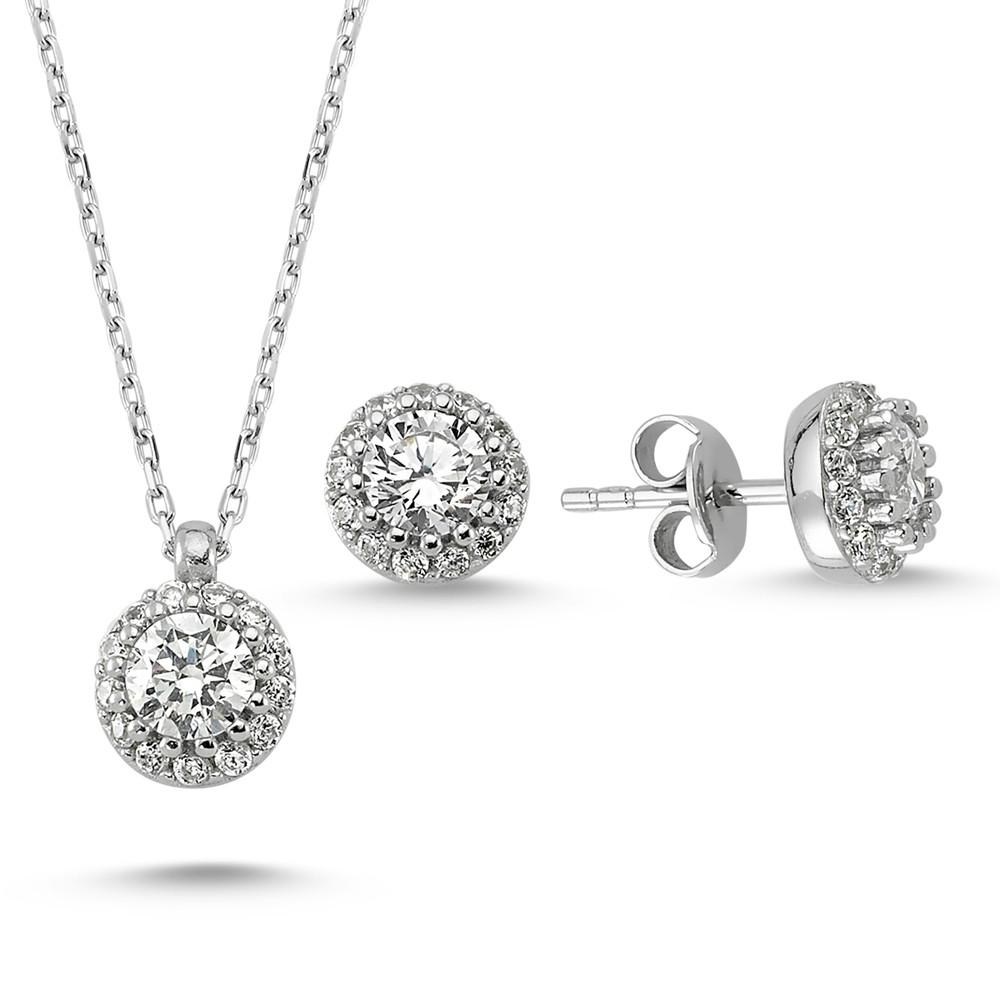 Elmas Montürlü Gümüş Kolye Küpe Miniset MYA001005 7851 Thumb
