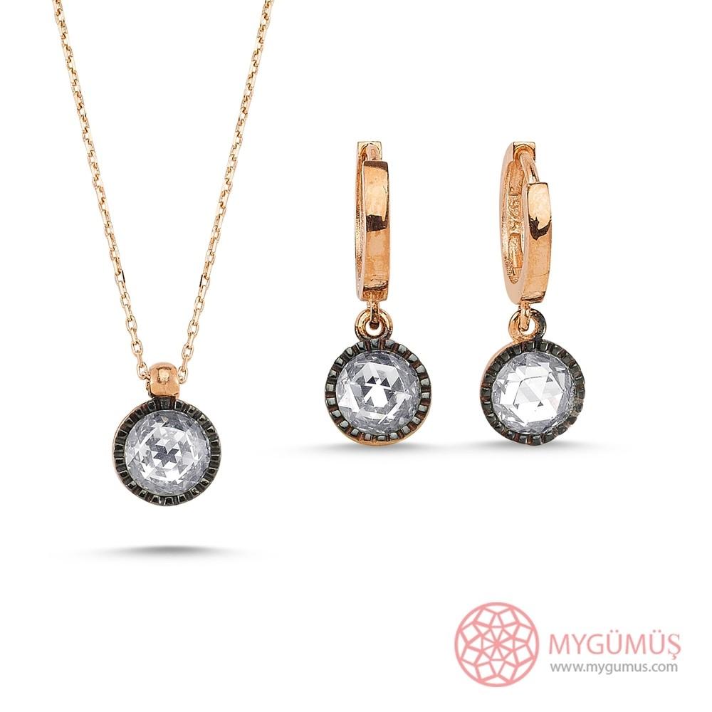Elmas Montürlü Gümüş Kolye Küpe Miniset MY100133 7856 Thumb