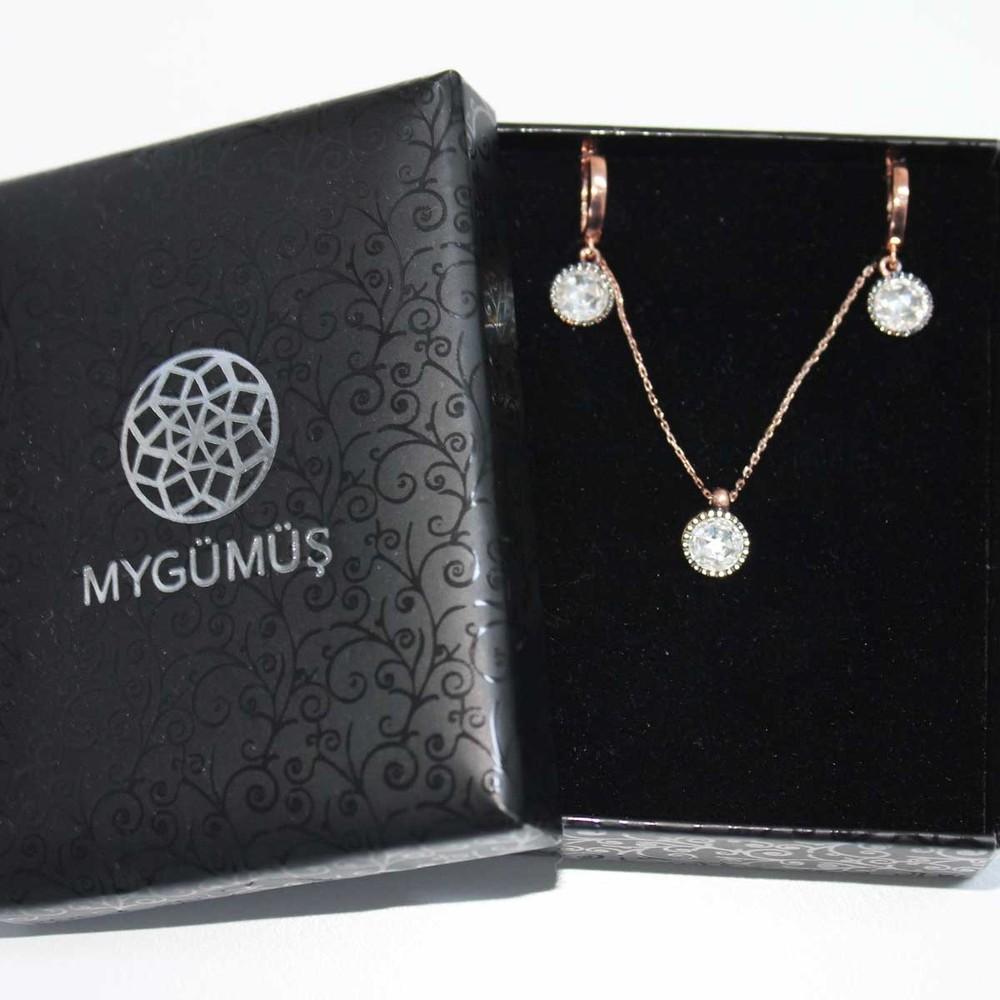 Elmas Montürlü Gümüş Kolye Küpe Miniset MY100133 6845 Thumb