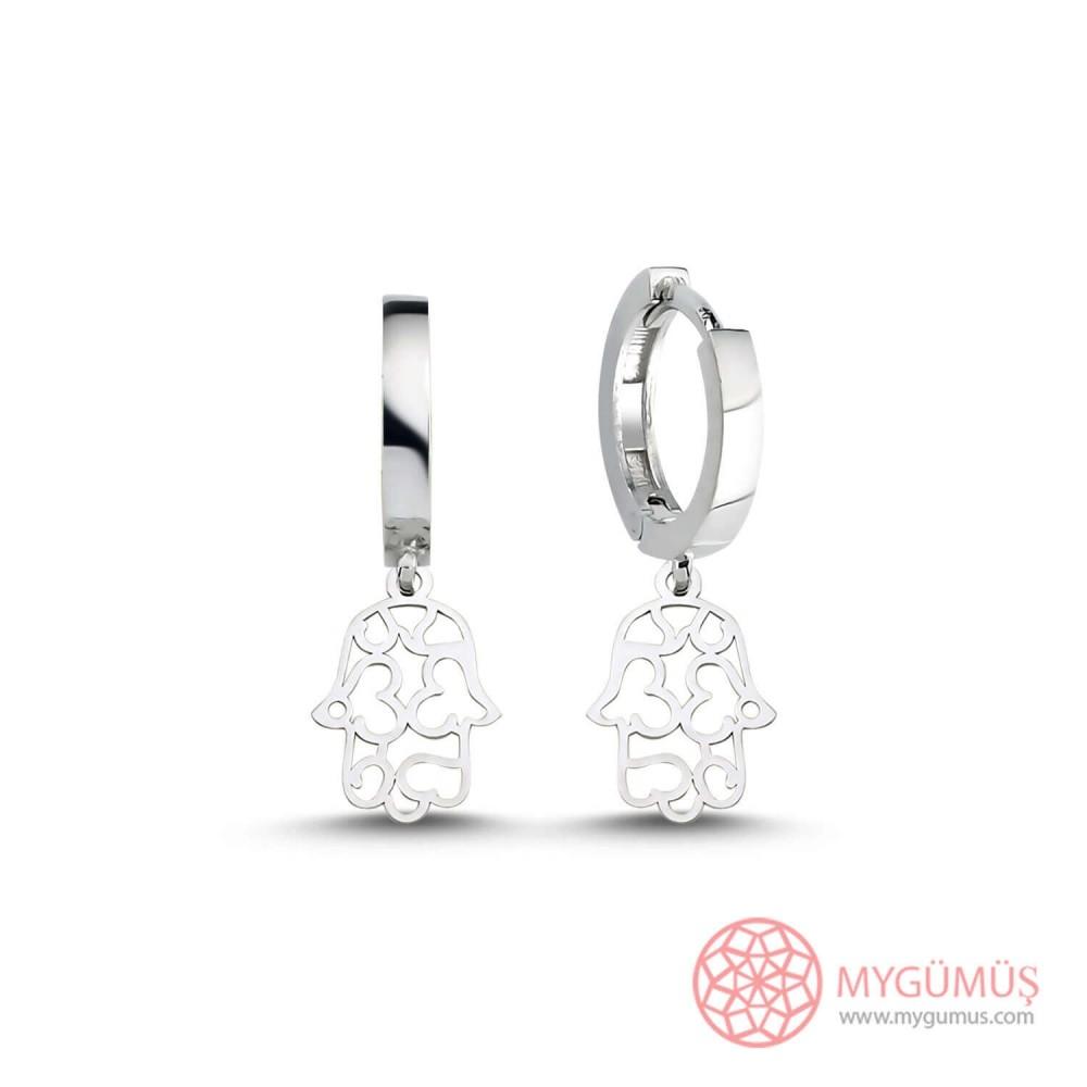 Fatıma'nın Eli Kalpli Gümüş Küpe MY101484 9924 Thumb