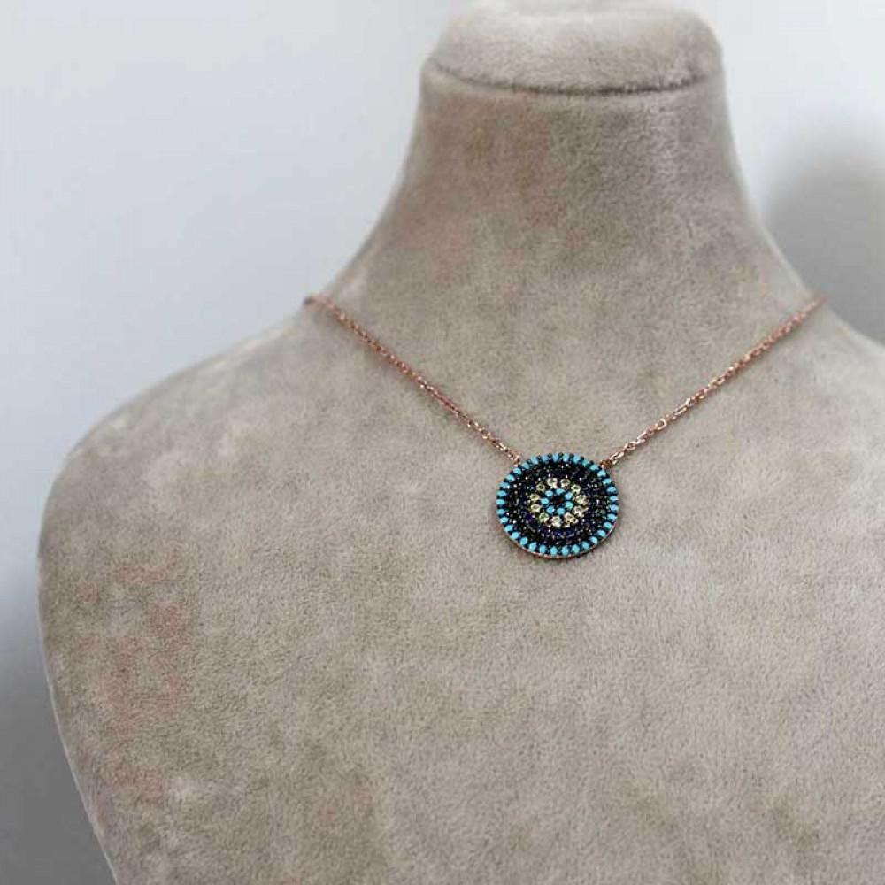 Firuze Taşlı Nazar Göz Tasarım Gümüş Kolye MY0201062 7429 Thumb