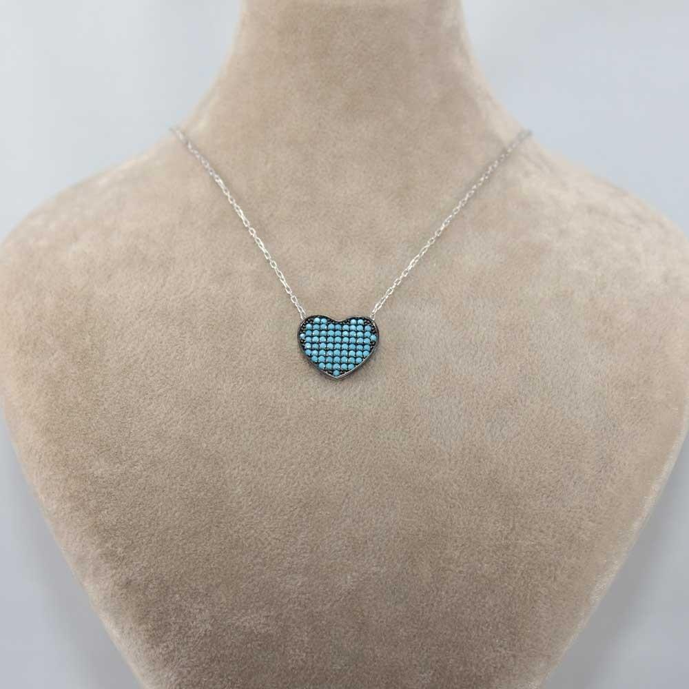 Firuze Taşlı Gümüş Kalp Kolye MY0201026 8154 Thumb