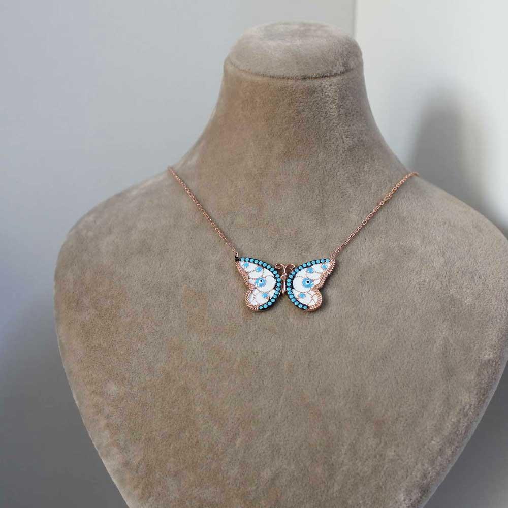 Firuze Taşlı Mineli Gümüş Kelebek Kolye MY0201018 7237 Thumb
