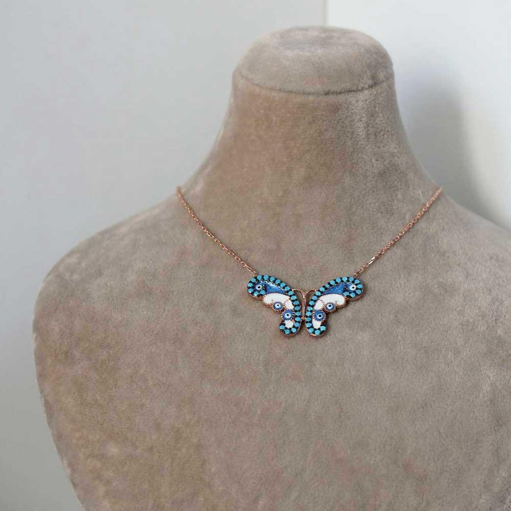 Firuze Taşlı Gümüş Kelebek Kolye MY0201017 7261 Thumb