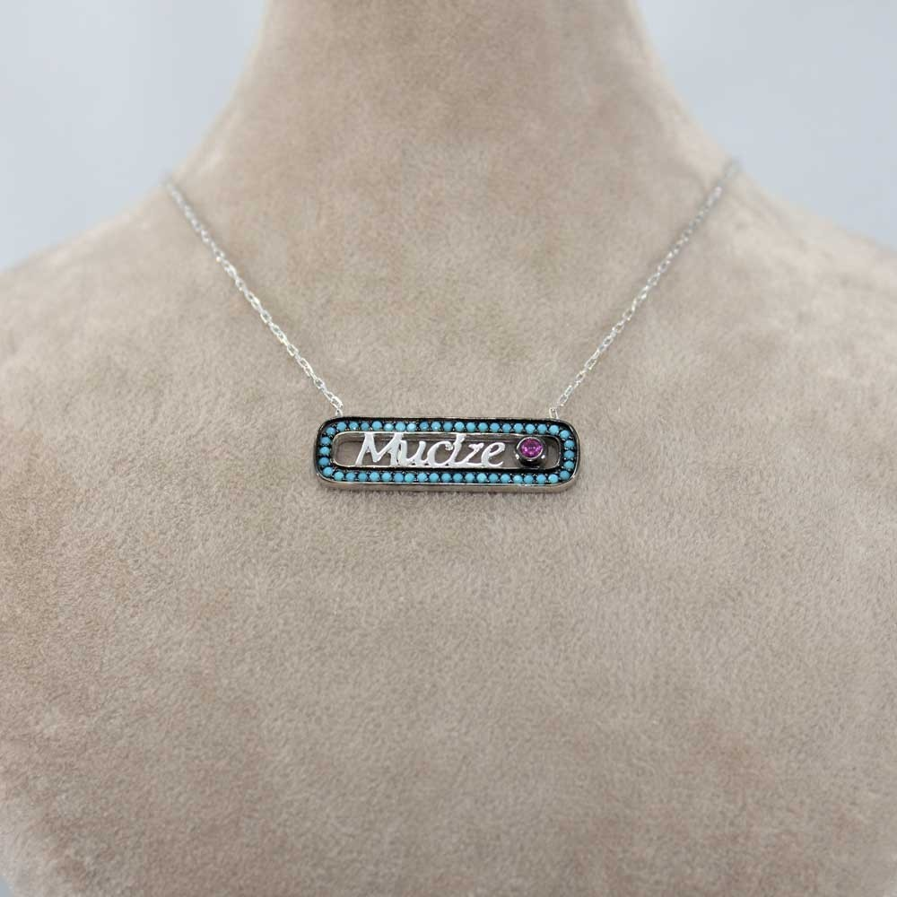 Firuze Taşlı Mucize Yazılı Gümüş Kolye MY0201038 8138 Thumb