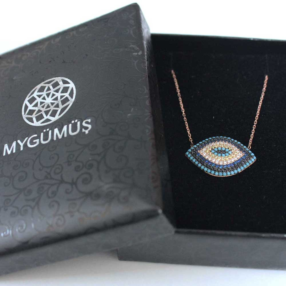 Firuze ve Safir Taşlı Gümüş Nazar Göz Kolye MY0201008 7230 Thumb