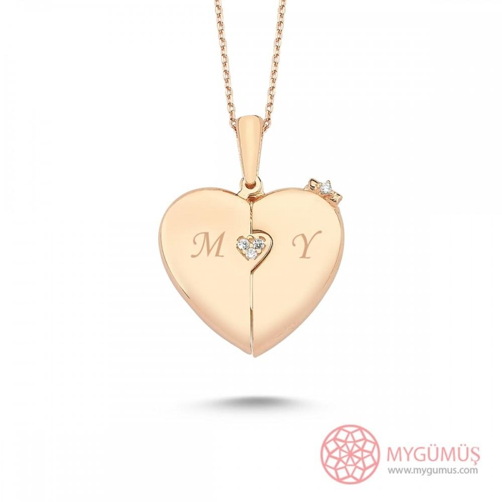 İsme Özel Fiyonklu Kalp Gümüş Kolye MY101445 9745 Thumb