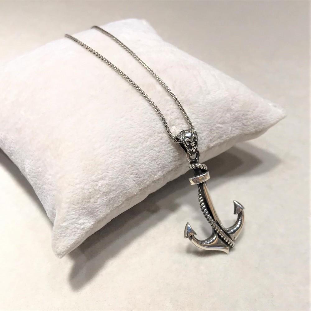 Gemi Çapası Motifli Erkek Gümüş Kolye MY01034 12185 Thumb