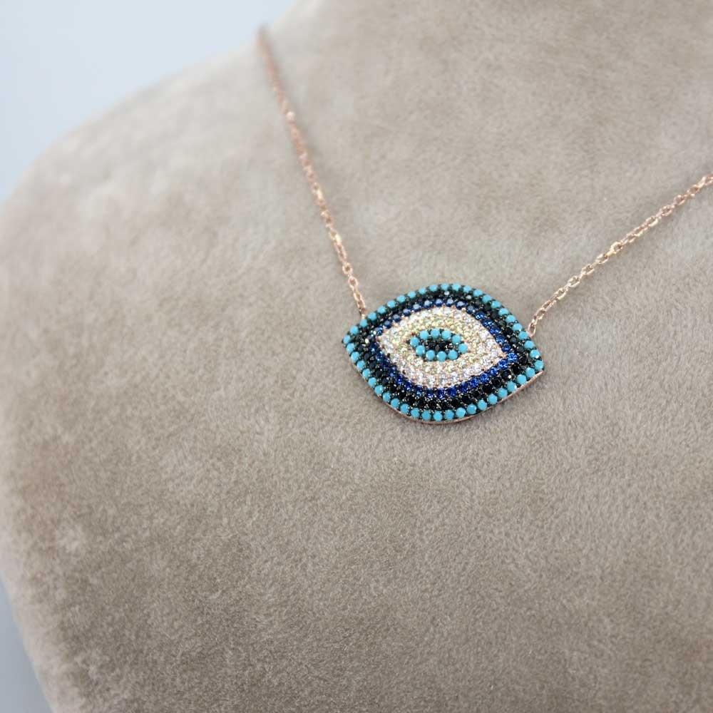 Firuze Taşlı Göz Gümüş Kolye MY0201005 8133 Thumb