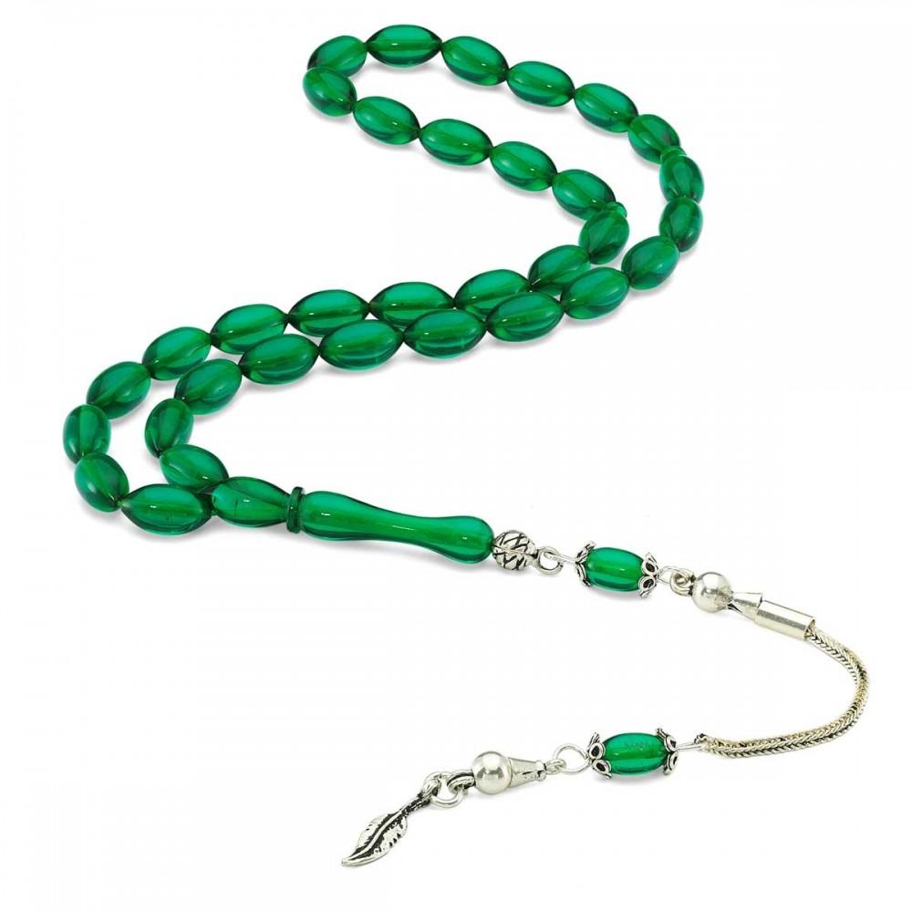 Gümüş İmameli Arpa Kesim Yeşil Sıkma Kehribar Tesbih MY0301030 8249 Thumb