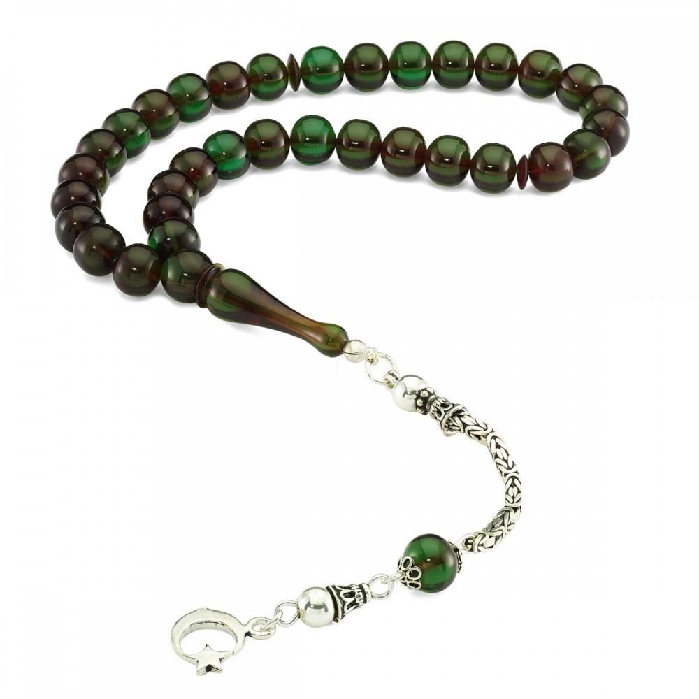 Gümüş İmameli Yuvarlak Sıkma Yeşil Kehribar Tesbih MY0301027 8382 Thumb
