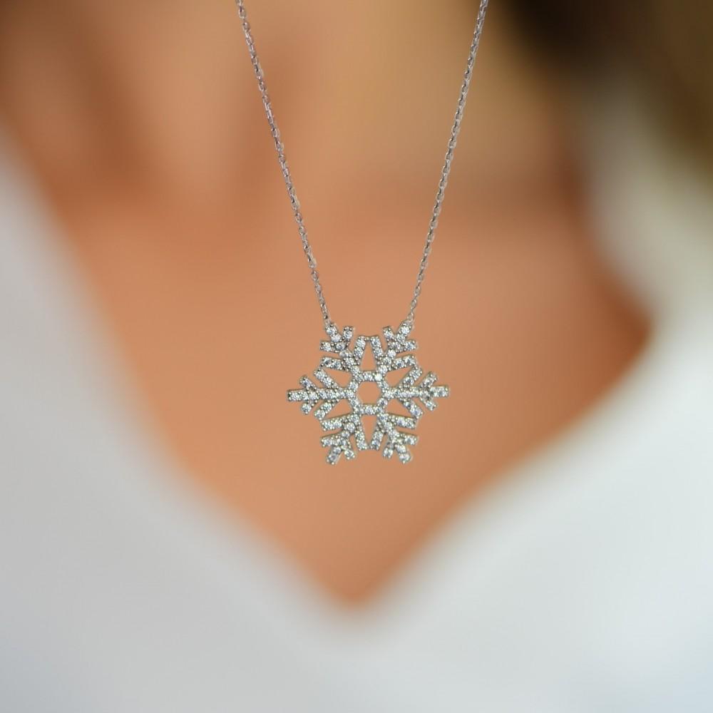 Gümüş Kar Tanesi Kolye MY100072 10782 Thumb