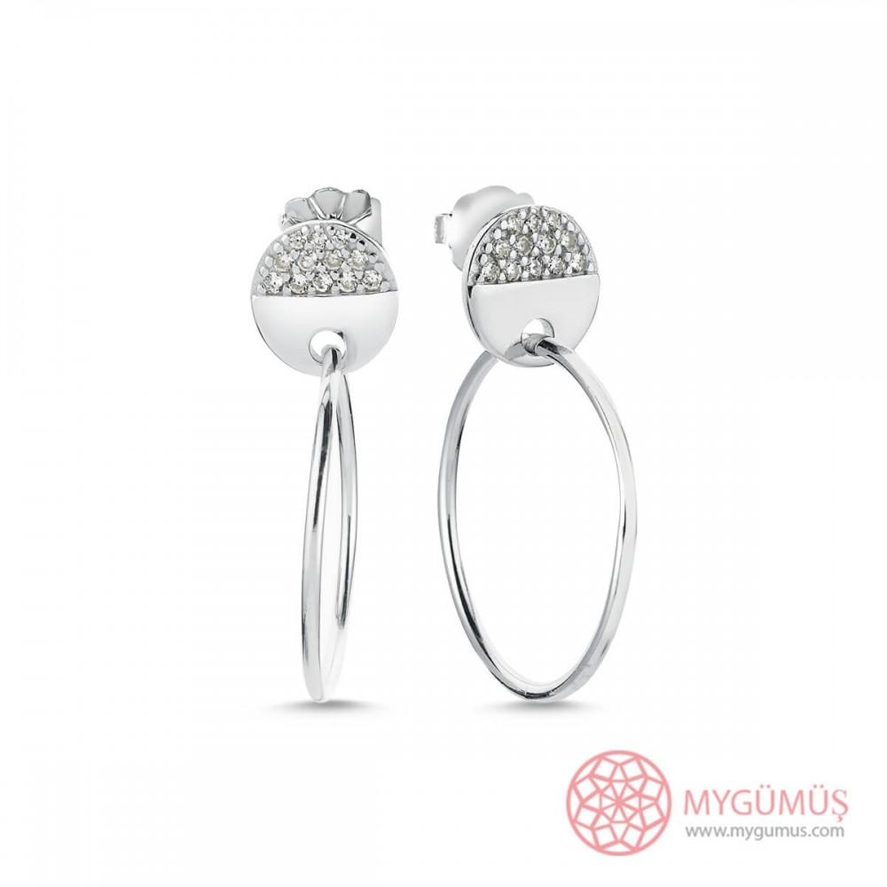 Vidalı Halka Gümüş Küpe MYG25 9589 Thumb