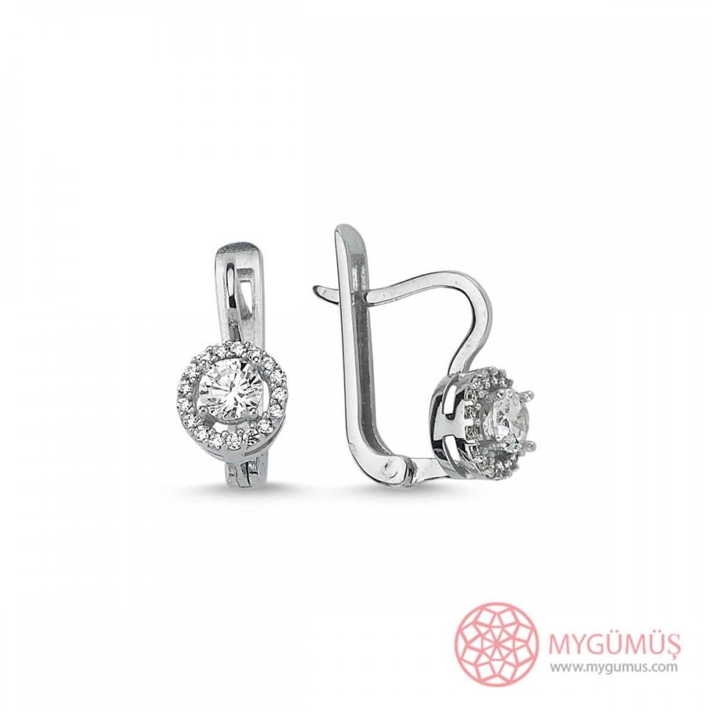 Yuvarlak Taşlı Gümüş Küpe MYG14 9579 Thumb