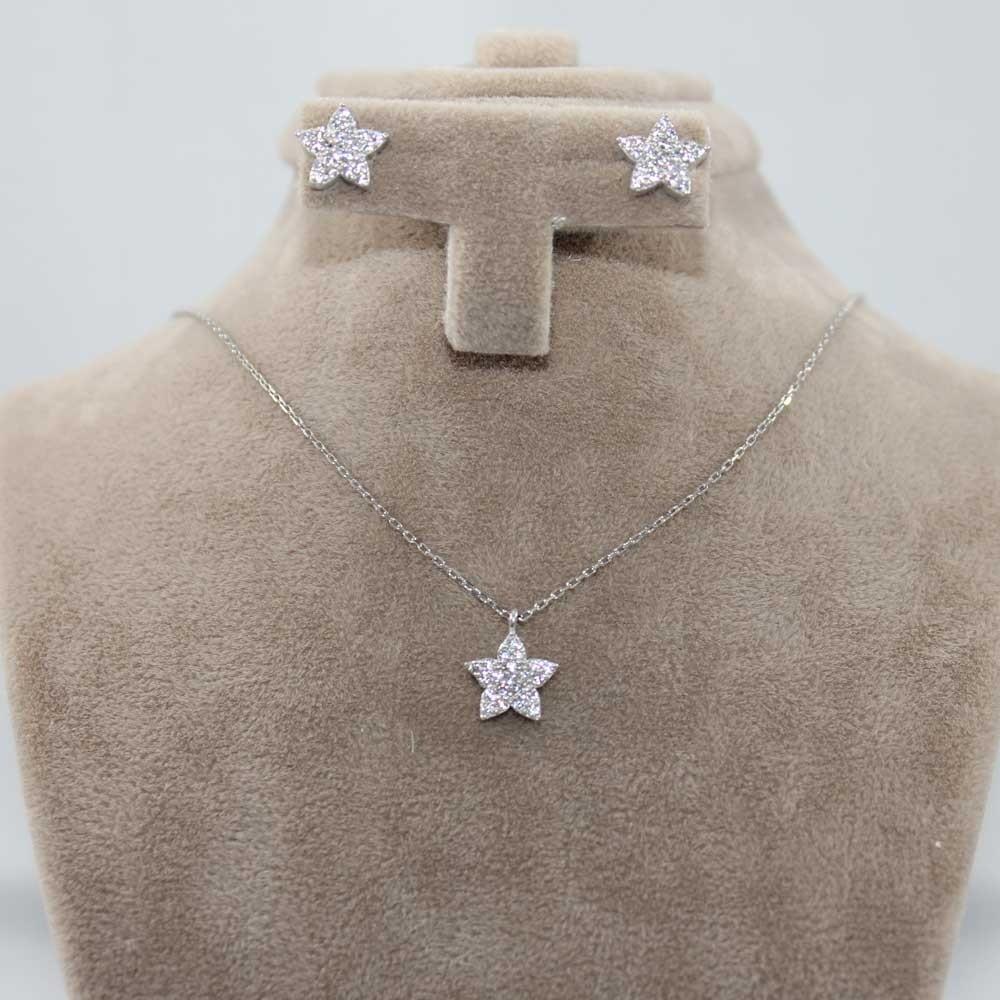 Zirkon Taşlı Yıldız Gümüş Kolye Küpe 2'li Set MY101139 8161 Thumb