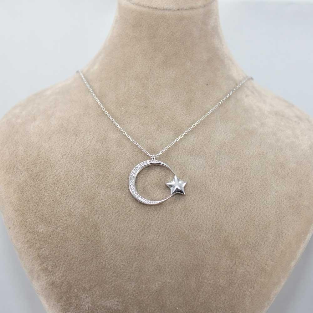 İnce Tasarım Ay Yıldız Gümüş Kolye MY101143 8236 Thumb