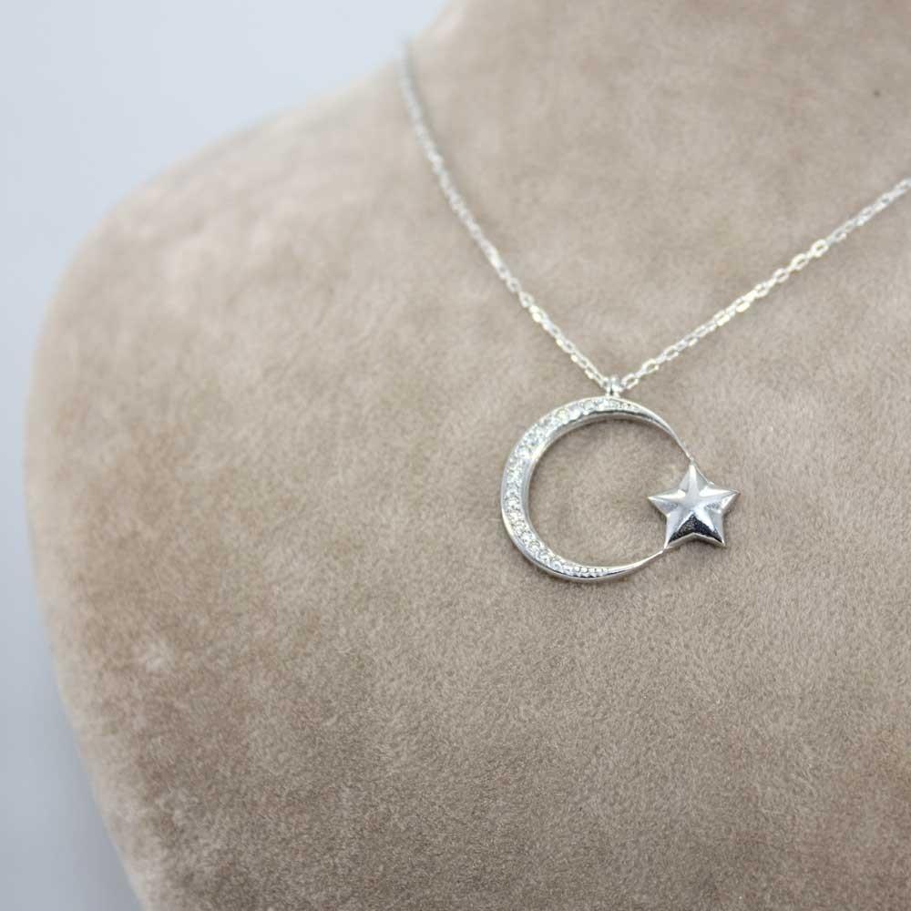 İnce Tasarım Ay Yıldız Gümüş Kolye MY101143 8237 Thumb