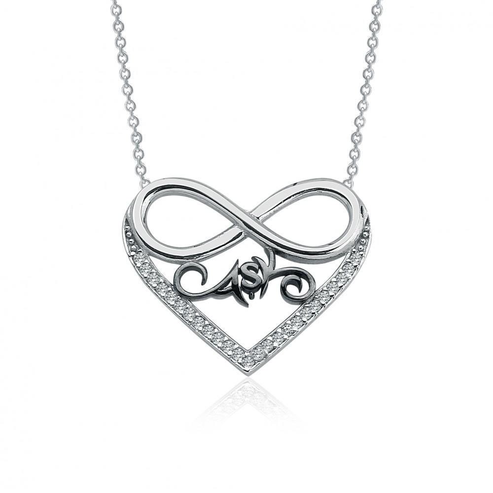 Zirkon Taşlı Aşk Sonsuzluk Kalp Gümüş Kolye MY100077 6660 Thumb