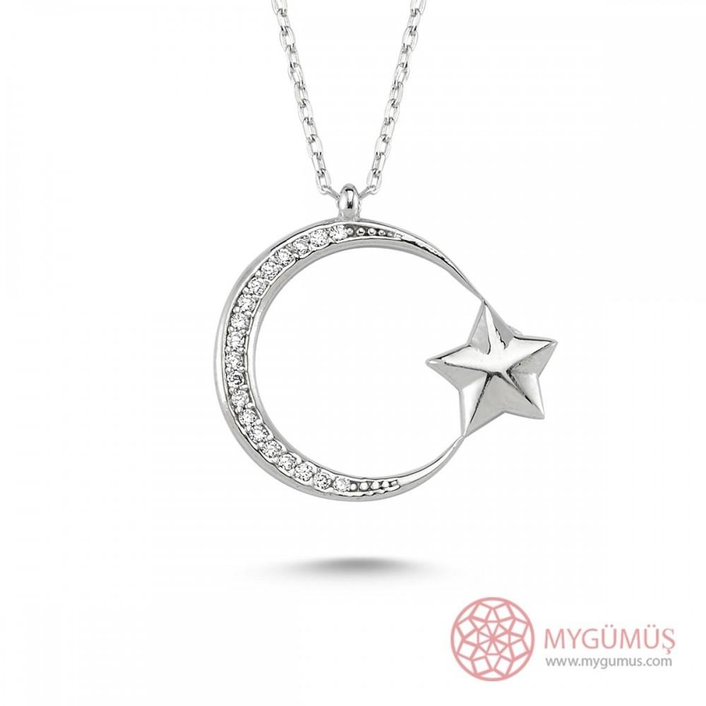 İnce Tasarım Ay Yıldız Gümüş Kolye MY101143 9482 Thumb