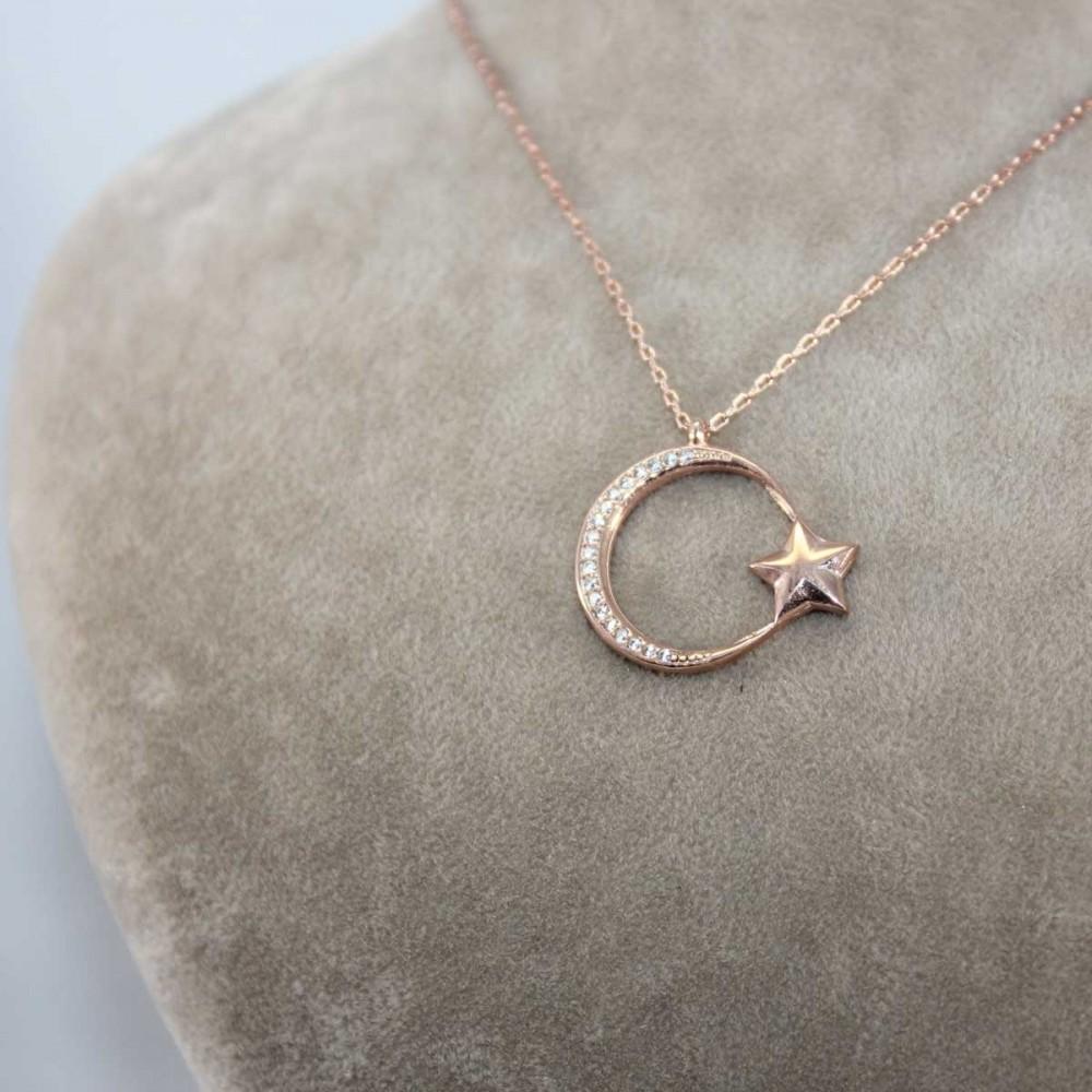 İnce Tasarım Ay Yıldız Gümüş Kolye MY101144 8674 Thumb