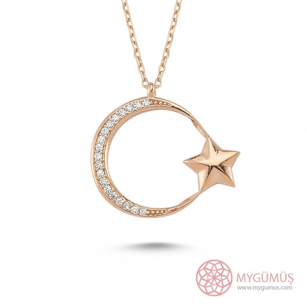 İnce Tasarım Ay Yıldız Gümüş Kolye MY101144 9481 Thumb