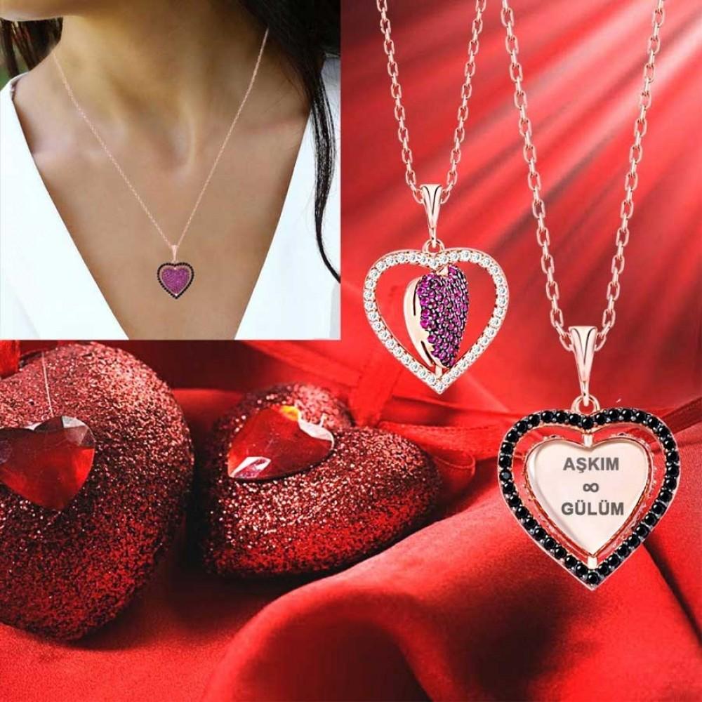 İsme Özel Dört Yönlü Kalp Gümüş Kolye MY101341 9439 Thumb
