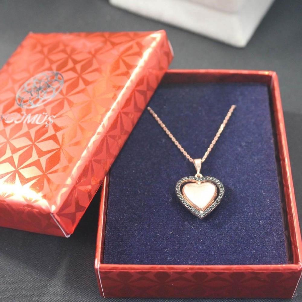 İsme Özel Dört Yönlü Kalp Gümüş Kolye MY101341 10348 Thumb