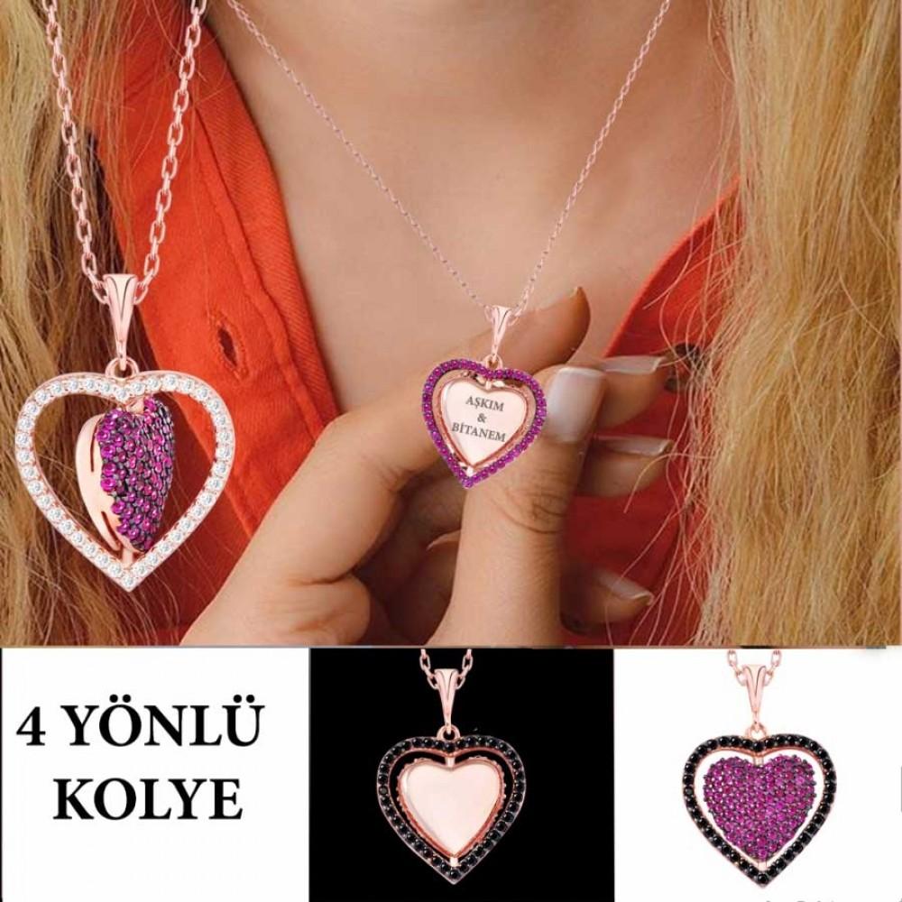 İsme Özel Dört Yönlü Kalp Gümüş Kolye MY101341 9437 Thumb
