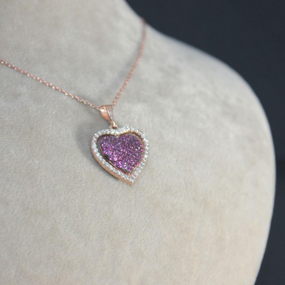 İsme Özel Dört Yönlü Kalp Gümüş Kolye MY101341 10349 Thumb