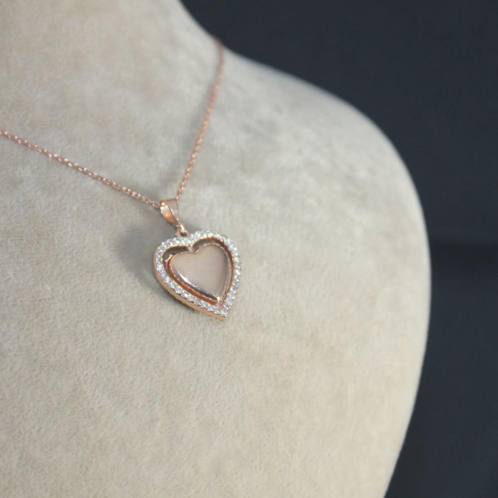 İsme Özel Dört Yönlü Kalp Gümüş Kolye MY101341 10352 Thumb