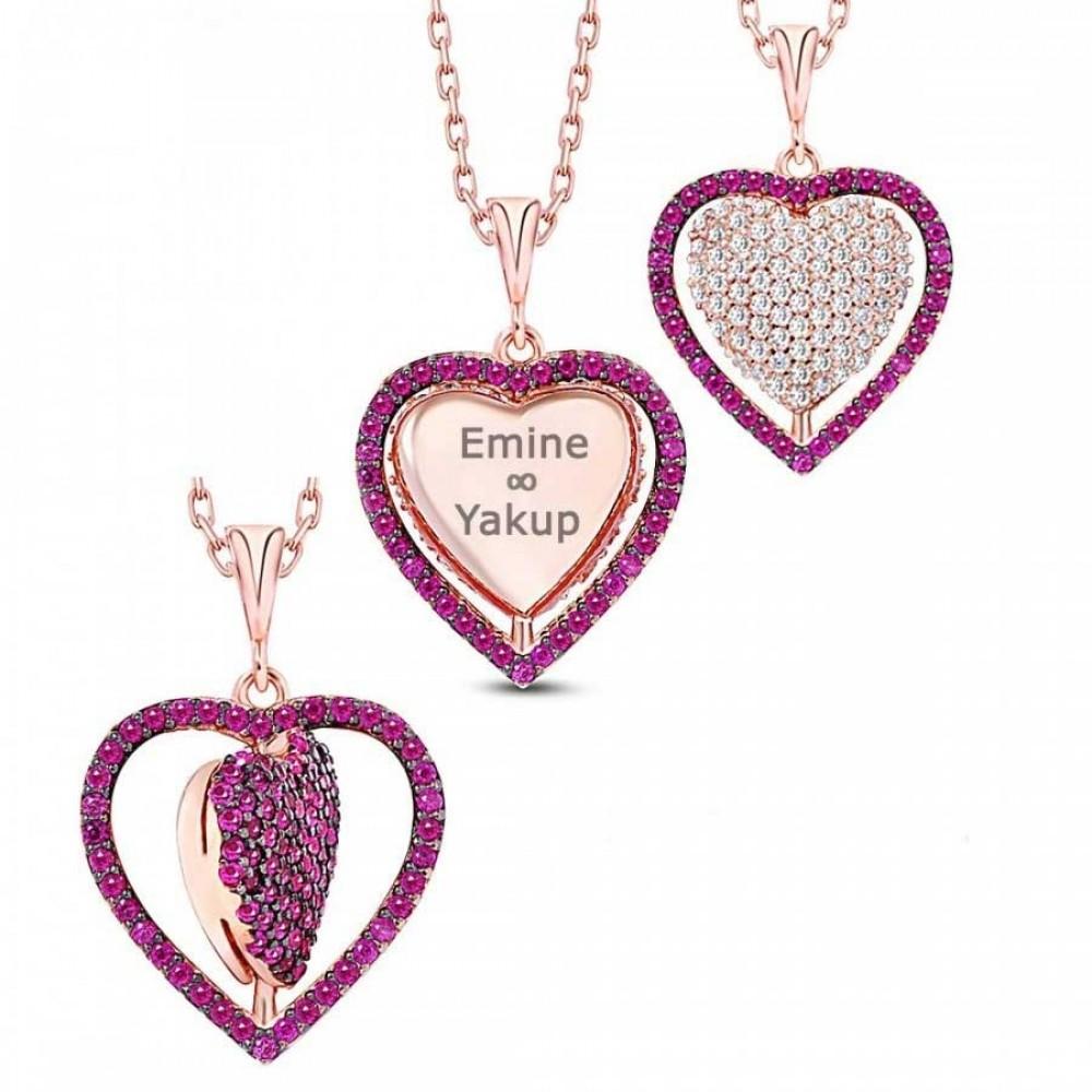 İsme Özel Dört Yönlü Kalp Gümüş Kolye MY101341 9438 Thumb