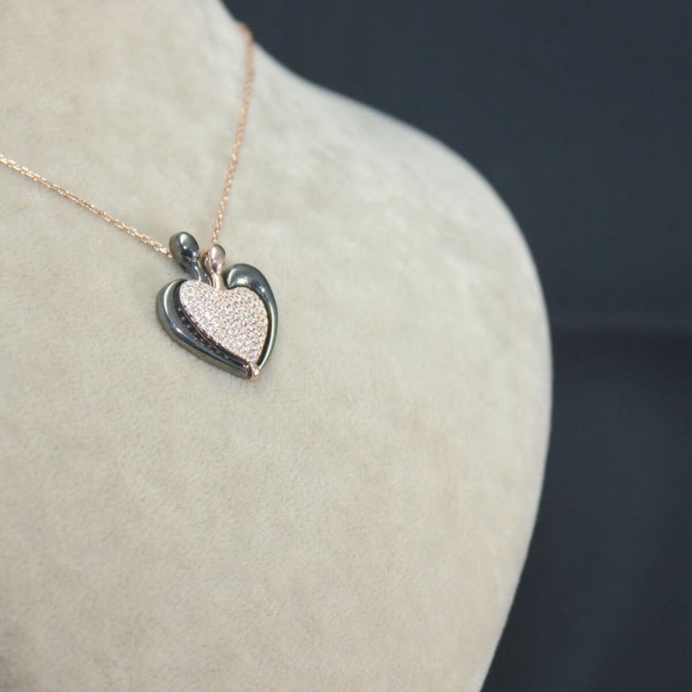 İsme Özel Kalp Amare Gümüş Kolye MY101652 10432 Thumb