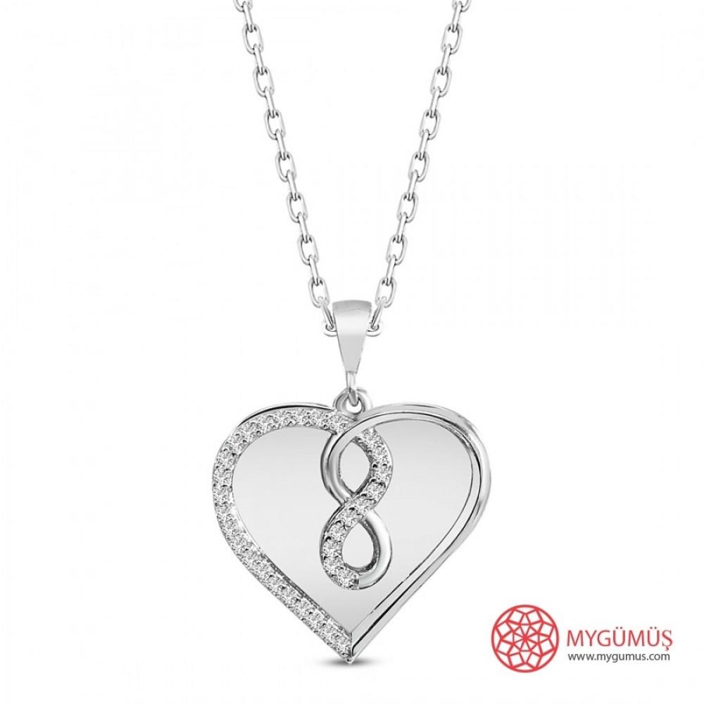 İsme Özel Sonsuzluk Kalp Gümüş Kolye MY101659 10024 Thumb