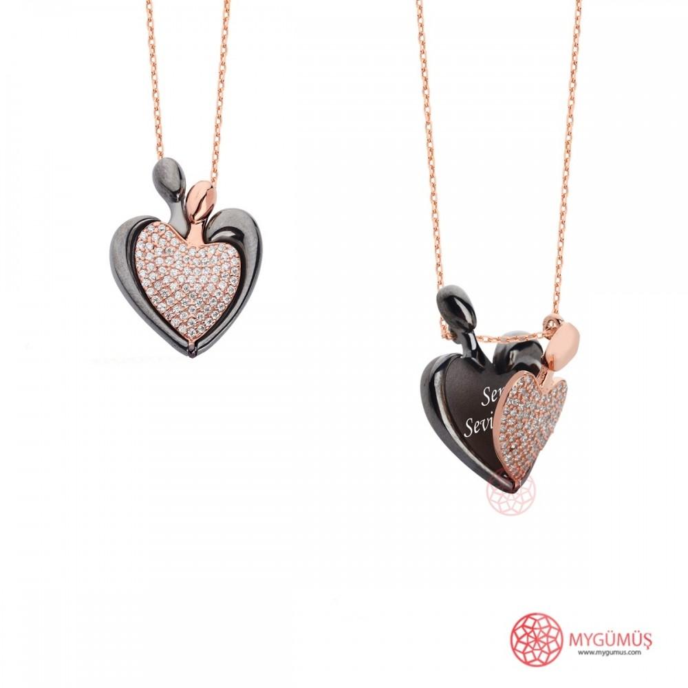 İsme Özel Kalp Amare Gümüş Kolye MY101652 10017 Thumb