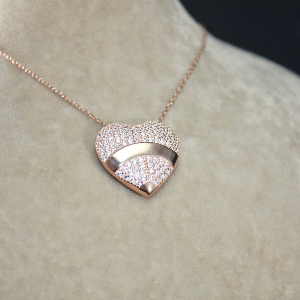 İsme Özel Kalp İçinde Tektaş Gümüş Kolye MY101436 10256 Thumb