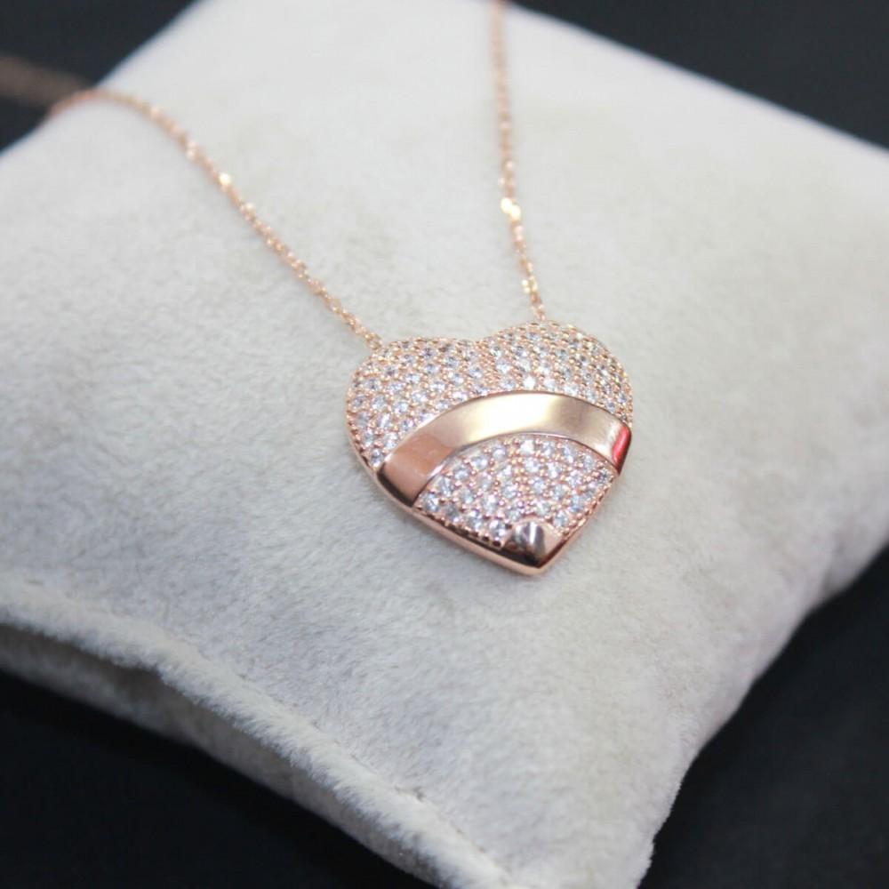 İsme Özel Kalp İçinde Tektaş Gümüş Kolye MY101436 10257 Thumb