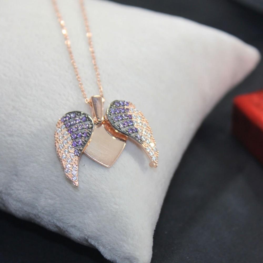 İsme Özel Kanatlı Gümüş Kalp Kolye MY101297 10452 Thumb