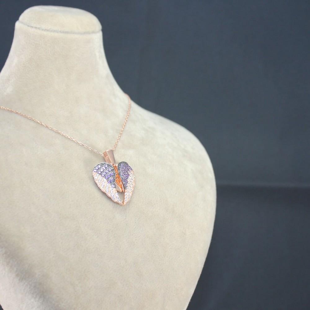 İsme Özel Kanatlı Gümüş Kalp Kolye MY101297 10455 Thumb
