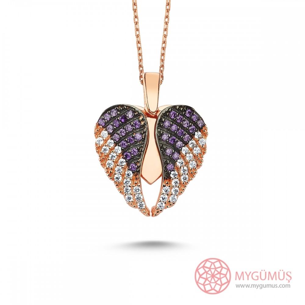 İsme Özel Kanatlı Gümüş Kalp Kolye MY101297 9050 Thumb