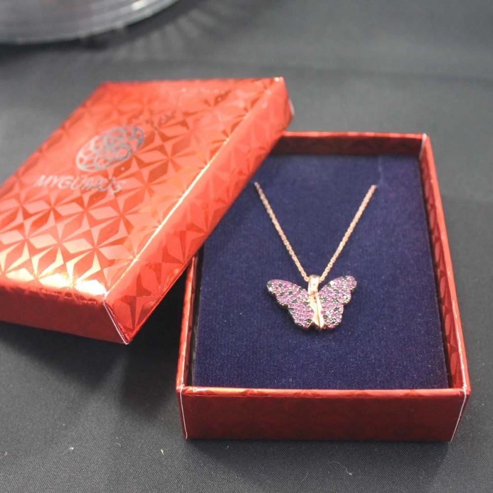 İsme Özel Taşlı Kelebek Gümüş Kolye MY101686 10424 Thumb